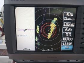 Her varsler radar om lyn og torden.