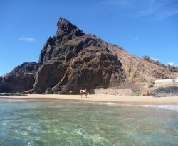 Sykkeltur til paradis. Strand på sørspissen av øya.